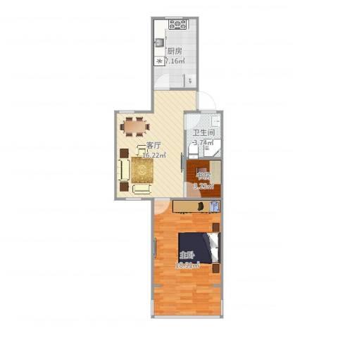 虹城公寓2室1厅1卫1厨62.00㎡户型图