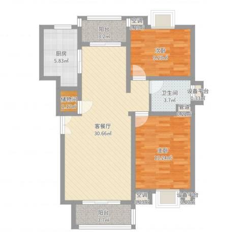 古北嘉年华庭2室2厅1卫1厨90.00㎡户型图