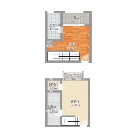 古北嘉年华庭1室2厅1卫1厨58.00㎡户型图