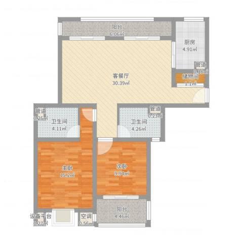 古北嘉年华庭2室2厅2卫1厨102.00㎡户型图