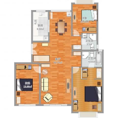 古北国际花园2室1厅2卫1厨129.00㎡户型图