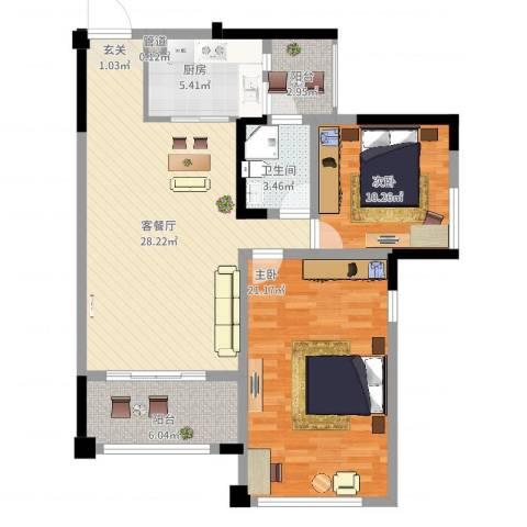 三江国际丽城C区澜岸2室2厅1卫1厨111.00㎡户型图