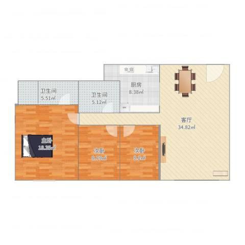 富庭华园3室1厅2卫1厨111.00㎡户型图