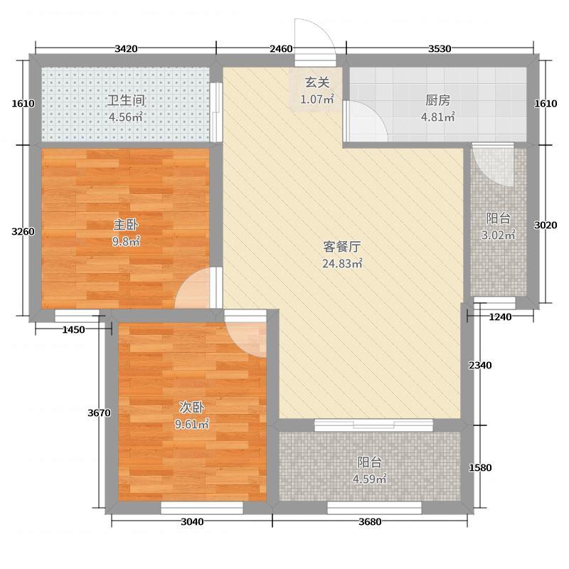 天福兰庭湾76.53㎡9#楼C2阳台户型2室2厅1卫1厨