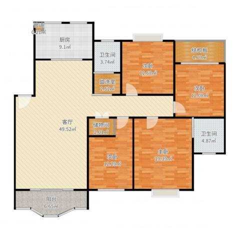 航发锦绣家园4室1厅2卫1厨175.00㎡户型图