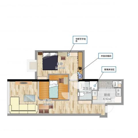 都市华庭1室1厅2卫1厨69.00㎡户型图