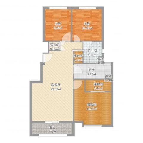 海亮公馆2室2厅1卫1厨106.00㎡户型图