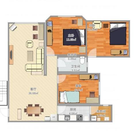新加坡花园三期3室1厅1卫1厨111.00㎡户型图