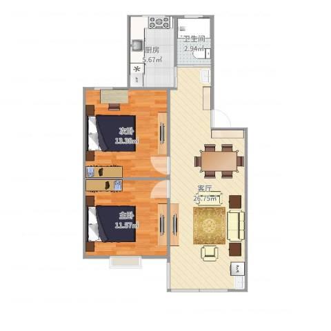 仙鹤茗苑2室1厅1卫1厨75.00㎡户型图