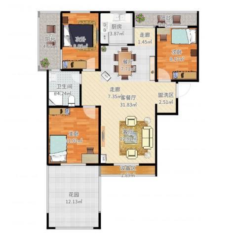 枫丹翡翠公馆3室2厅1卫1厨111.00㎡户型图