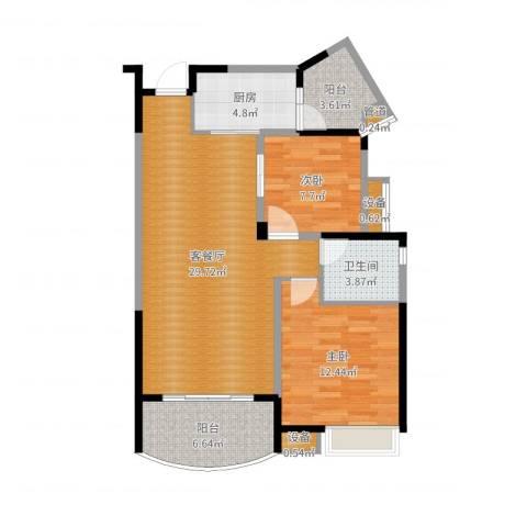世纪金源御府2室2厅1卫1厨88.00㎡户型图