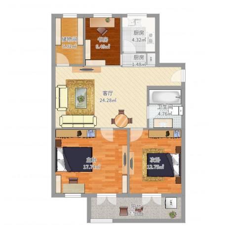 人丰小区3室1厅1卫2厨105.00㎡户型图