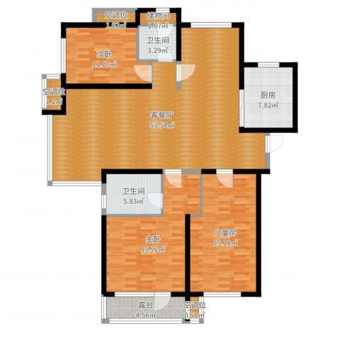 汇置公园里・怡林3室2厅4卫2厨161.00㎡户型图