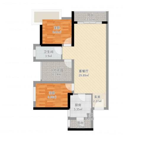 佳兆业御府2室2厅1卫1厨100.00㎡户型图