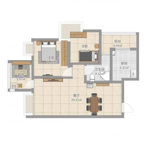 竹园阳光嘉苑5-2-27043室1厅2卫2厨86.00㎡户型图