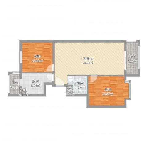 皇骐爱丽舍2室2厅1卫1厨86.00㎡户型图