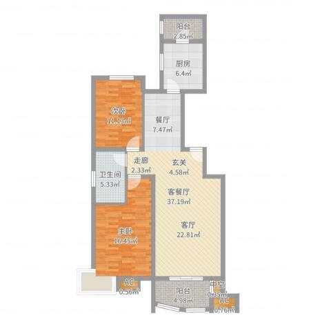 兴蒙时代广场2室2厅1卫1厨86.00㎡户型图