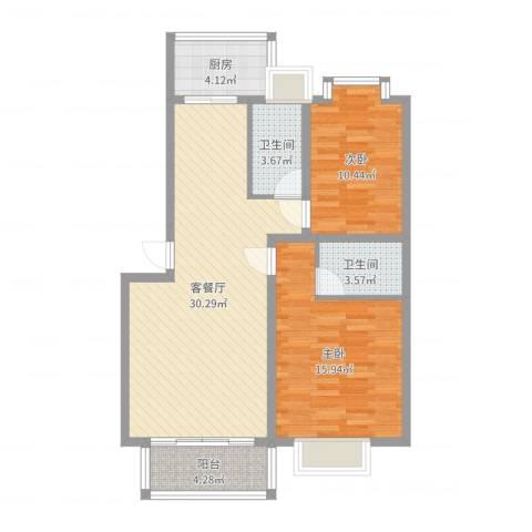 华厦清水湾2室2厅2卫1厨90.00㎡户型图