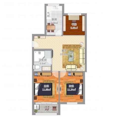 人丰小区3室1厅1卫1厨86.00㎡户型图
