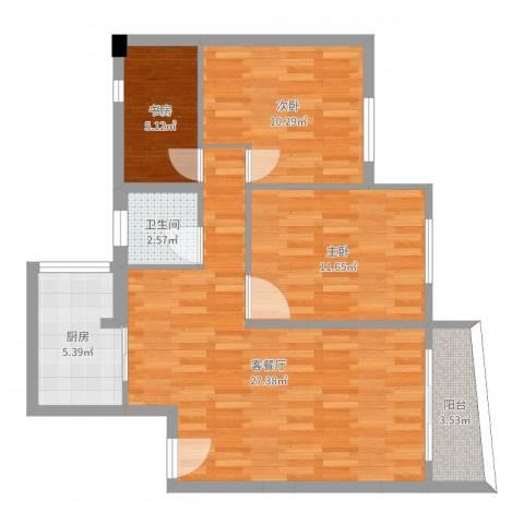 天雅居3室2厅1卫1厨82.00㎡户型图