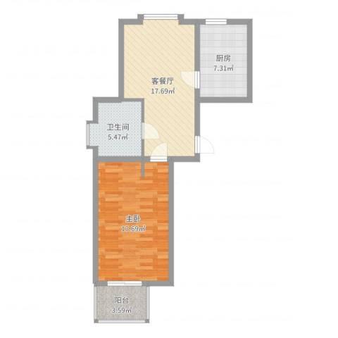 恒杰丁香花园1室2厅1卫1厨65.00㎡户型图
