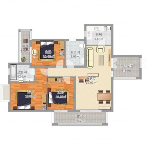 滨湖世纪城徽昌苑3室2厅2卫1厨145.00㎡户型图