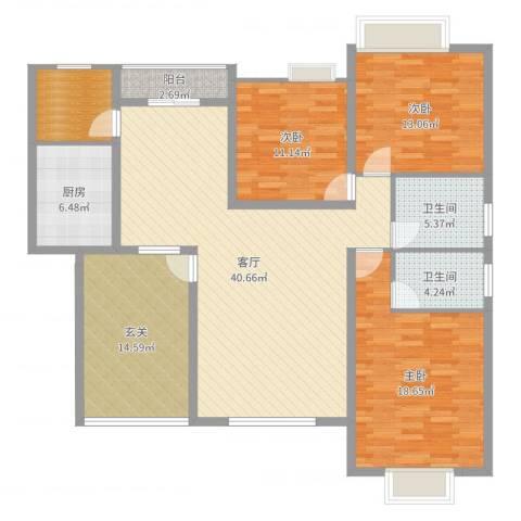 虹色景苑郭先生3室1厅2卫1厨152.00㎡户型图