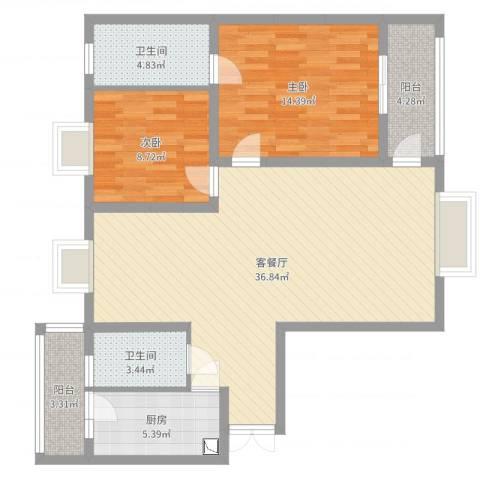 观山湖1号2室2厅2卫1厨102.00㎡户型图