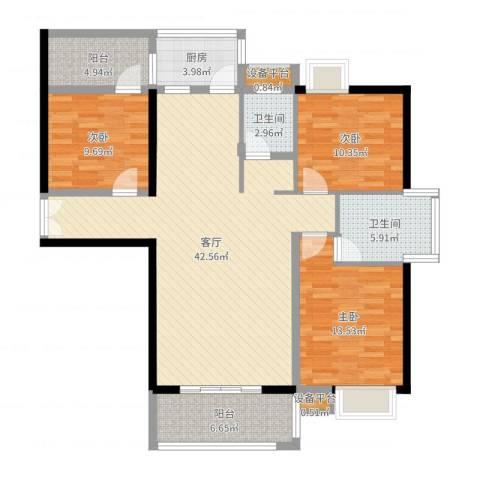 富雅国际3室1厅2卫1厨127.00㎡户型图