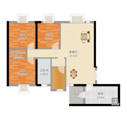 西雅图3室2厅1卫1厨106.00㎡户型图