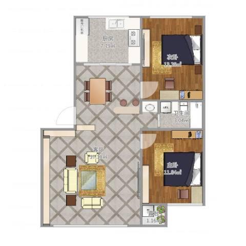 锦华中园2室1厅1卫1厨93.00㎡户型图