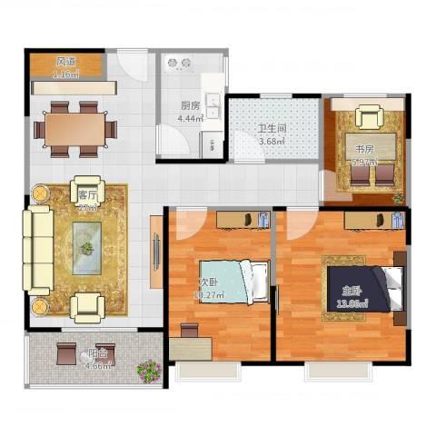 祥源城3室1厅1卫1厨95.00㎡户型图