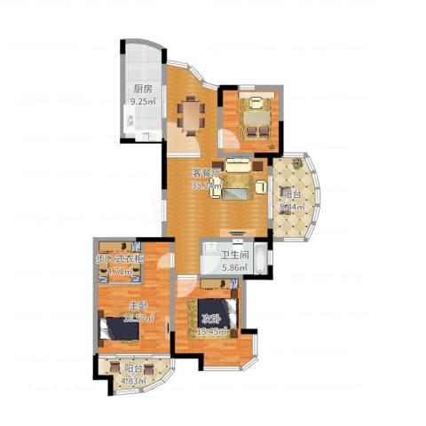 康恒嘉和豪庭2室2厅1卫1厨137.00㎡户型图