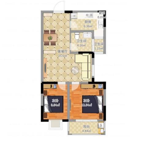 隆昊昊博园2室2厅2卫1厨79.00㎡户型图