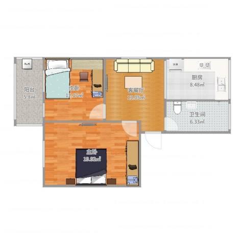 发电厂宿舍区2室2厅1卫1厨82.00㎡户型图