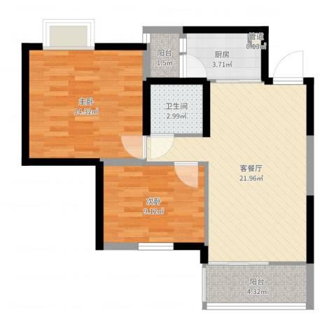 中惠沁林山庄二期2室2厅1卫1厨73.00㎡户型图