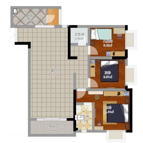 富洲新城D街区3室1厅2卫1厨115.00㎡户型图