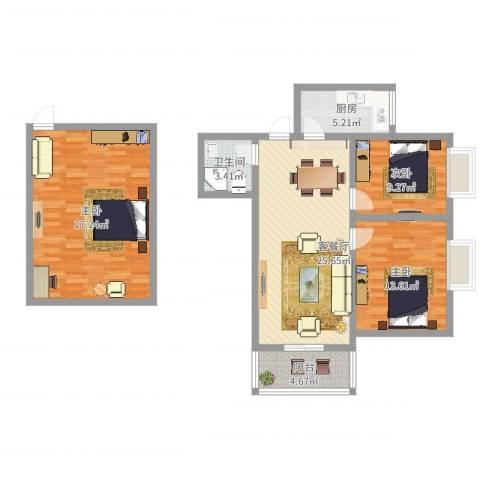 综艺曼哈顿时代3室2厅1卫1厨126.00㎡户型图