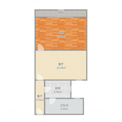 华秀小区1室2厅1卫1厨93.00㎡户型图