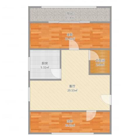 德州六村2室1厅1卫1厨73.00㎡户型图