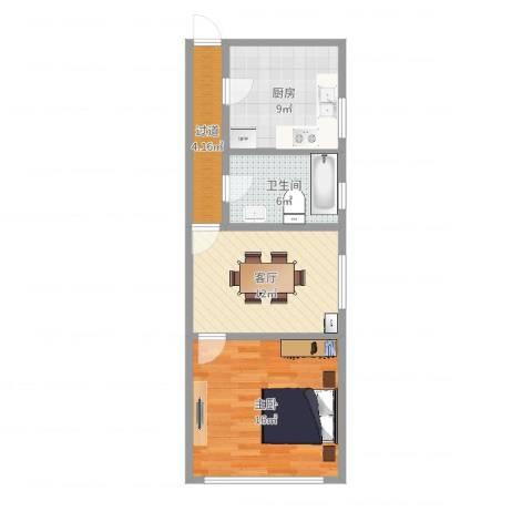 华秀小区1室1厅1卫1厨59.00㎡户型图