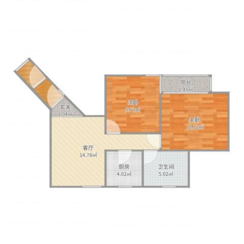 德州六村2室1厅1卫1厨65.00㎡户型图