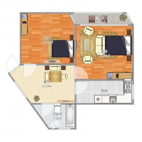 德州七村2室1厅1卫1厨82.00㎡户型图