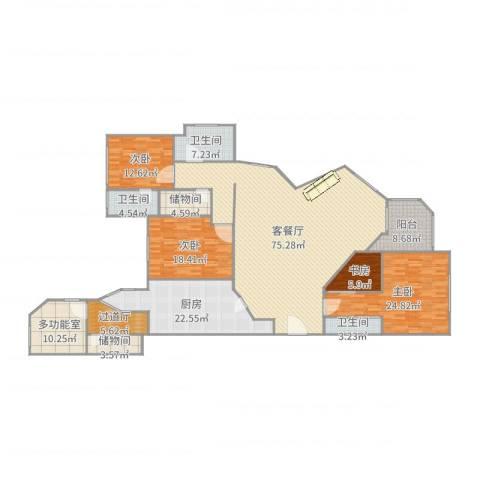 华山夏都苑4室2厅3卫1厨207.28㎡户型图