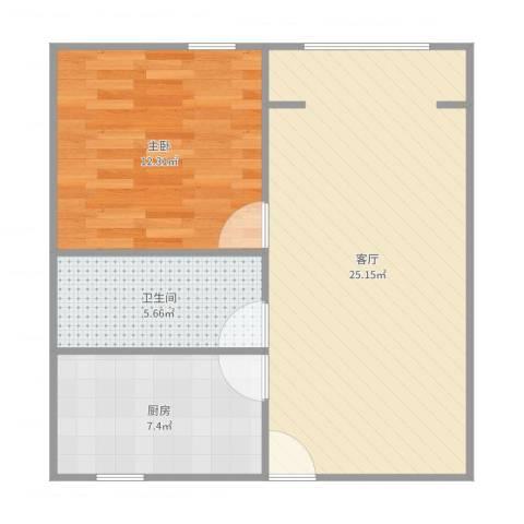 德州七村1室1厅1卫1厨63.00㎡户型图
