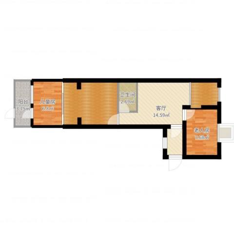 德州七村2室1厅2卫1厨64.00㎡户型图
