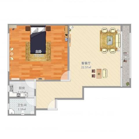 德州五村1室2厅1卫1厨59.00㎡户型图