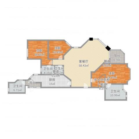 华山丽苑3室2厅4卫1厨204.00㎡户型图