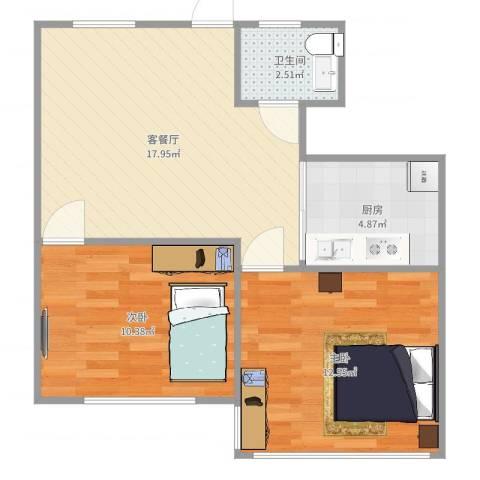 德州一村2室2厅1卫1厨60.00㎡户型图