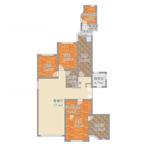 华山丽苑3室2厅2卫1厨192.00㎡户型图
